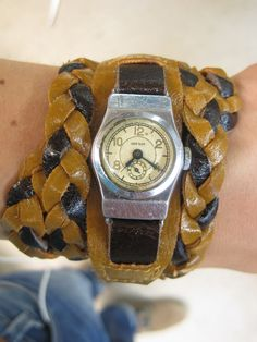 DIY braided leather bracelet for an old women's watch