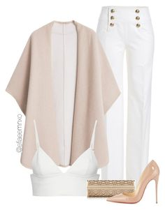 """Crème"" by efiaeemnxo ❤ liked on Polyvore featuring Emilio Pucci, MANGO, T By Alexander Wang, Jimmy Choo and Christian Louboutin"