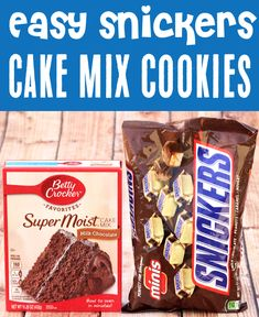 Snickers Cookies Recipes - Easy Chocolate Cookie! Satisfy those Snickers cravings with this outrageously delicious treat! With just 4 ingredients, it will be one of the EASIEST desserts you'll ever make! Go grab the recipe and give it a try! Cake Mix Cookie Recipes, Cake Mix Cookies, Best Cookie Recipes, Yummy Cookies, Christmas Desserts, Christmas Recipes, Fun Desserts, Christmas Cookies, Delicious Desserts