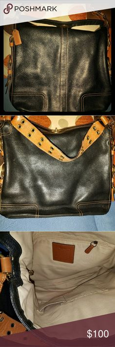Vintage Coach Bag Black and Tan Coach Bags Totes