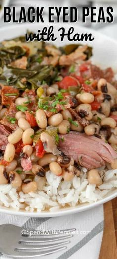 Black Eyed Peas Recipe (with Ham) - Spend With Pennies Black Eyed Peas are easy to cook and make a great hearty meal! We serve this black eyed peas recipe over rice alongside collard greens (with a big slice of Homemade Cornbread of course). Pea Salad Recipes, Pea Recipes, Soup Recipes, Cooking Recipes, Healthy Recipes, Cooking Rice, Cooking Steak, Cooking Turkey, Lunch Recipes