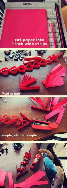 Easy Heart Paper Chain for Valentine's Day.  You only need paper and a stapler!  #Valentine#paper#chain