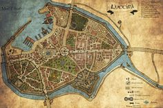 Luccini - A Fantasy Roleplay City Map by Adhras Fantasy City Map, Fantasy World Map, Fantasy Town, Medieval Fantasy, Medieval Town, Imaginary Maps, Village Map, Rpg Map, Dungeon Maps