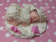 Fondant Baby Girl with Angel Wings Cake Topper/Cake Supplies/Baby Boy Cake Topper/flower/baby Girl/Easter Topper
