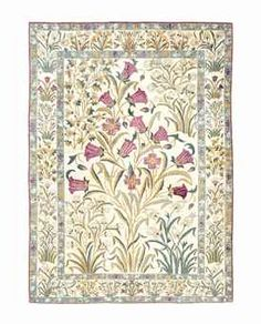 A PART-SILK QUM CARPET   CENTRAL PERSIA, CIRCA 1920   Of 'Mughal' design, some corroded silk with associated minor localised repiling, otherwise very good condition  10ft.3in. x 7ft.3in. (311cm. x 219cm.) pae gbp8-10 SOLD for 16