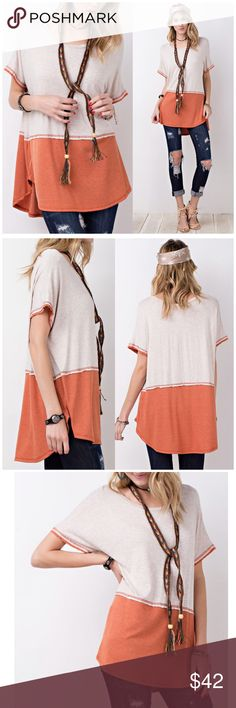 🌸CLEARANCE🌸Faded Rust Loose Fit Tunic Mix & Match Faded Rust Color Block Loose Fit Tunic. Simple yet smart and fashionable. 95% Rayon 5% spandex. Fits true to size   📸 Follow us on Instagram @b_chic_boutique For awesome perks! Bchic Tops Tunics