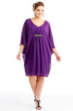 Metallic detail dress/Sweet Purple            Style No: ED5120    Imitation silk knee-length dress.    This divine cape dress has a deep V-neckline and features metallic stud detailing centered at the bust. #fashion #plussize #2013