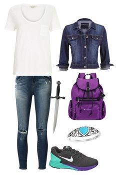 """""""CHB Quest Outfit"""" by penfangirl ❤ liked on Polyvore featuring J Brand, River Island, NIKE, Sherpani, Bling Jewelry and maurices"""