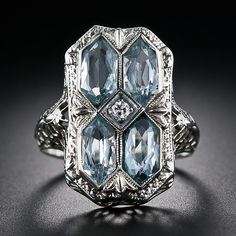 1920's aquamarine Art Deco filigree ring