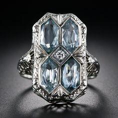1920's aquamarine Art Deco filigree ring