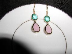 Pastel Pretty Gold Wrapped Dangle Earrings by luvswoodencars2, $26.00