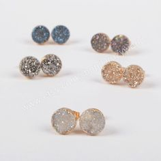 Gold Plated 10mm Round Natural Agate Titanium Rainbow Color Druzy Stud Earrings Drusy Post Earring Gemstone Jewelry G0911 by Druzyworld on Etsy