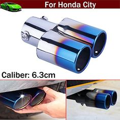 New Car Modification Double Outlets Chrome Stainless Steel Exhaust Rear Tail Pipe Tip Tailpipe Muffler Pretector Blue Color Custom Fit For Honda City 2008 2009 2010 2011 2012 2013 2014 2015 2016 2017 -- Awesome products selected by Anna Churchill