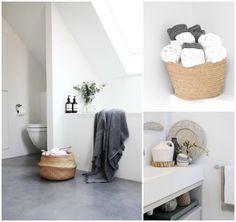 La Garbatella: blog de decoración de estilo nórdico, DIY, diseño y cosas bonitas. Las toallas enrolladas así en un cesto, es un detalle genial.