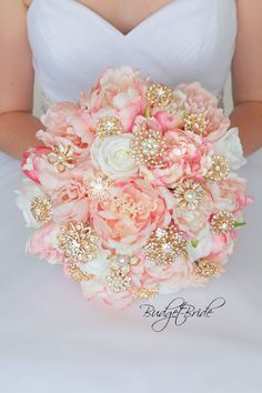 Gold and Blush Davids Bridal Wedding Bouquet with brooches
