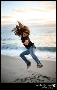 Senior pictures, fun senior pictures, senior jumping picture, Beach portraits