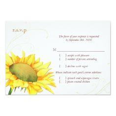 Yellow Wedding RSVP cards Classy Gold Autumn Sunflower Wedding RSVP Card