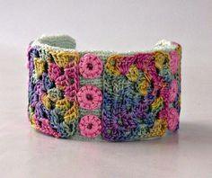 Handcrafted Knit & Crochet Fiber Art Cuff Bracelet  @Nothingbutstring