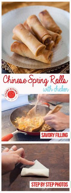 Chinese Spring Rolls with Chicken Recipe - light, crisp-crackly skin and small enough to enjoy in 4 bites, light and full of tender-crisp vegetables filling. Easy to make gluten free with some substitutions. Chinese Chicken Recipes, Easy Chinese Recipes, Asian Recipes, Chinese Meals, Chinese Desserts, Chinese Spring Rolls, Easy Spring Rolls, Chinese Egg Rolls, Comida Filipina
