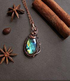 Labradorite pendant Wire wrapped pendant necklace by TiKorali