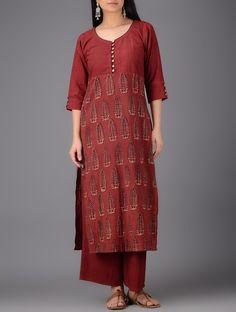 Maroon-Beige Cotton Kurta with Elasticated-Waist Palazzos (Set of Salwar Designs, Kurta Designs Women, Blouse Designs, Salwar Neck Patterns, Dress Patterns, Indian Long Dress, Indian Wear, Kurta Cotton, Suits For Women