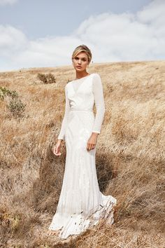 The CASSIE gown from the LUXE collection by Karen Willis Holmes. Hand beaded wedding gowns, re-defined for the modern bride wedding gown Cassie Art Deco Wedding Dress, Beaded Wedding Gowns, Western Wedding Dresses, Modest Wedding Dresses, Bridal Dresses, Karen Willis Holmes, Long Sleeve Wedding, Plus Size Wedding, Vogue