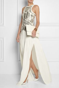 Sass and Bide Neon City embellished mesh and silk gown