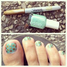 diy essie sleek stick hack: essie turquoise & caicos + gold sharpie + top coat