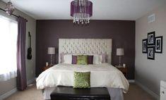 Purple Accent Walls In Bedroom. Purple Accent Walls In Bedroom. Purple Master Bedroom, Grey Bedroom With Pop Of Color, Master Bedroom Makeover, Bedroom Black, Master Bedrooms, Dark Purple Bedrooms, Headboard Makeover, Mirror Makeover, Headboard Ideas