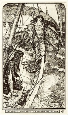 Henry Justice Ford ~ The Princess Finds Herself a Prisoner on the Ship ~ The Orange Fairy Book by Andrew Lang ~ 1906 ~ via The Pictorial Arts