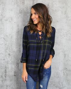 Rockies Lace Up Plaid Top - Navy