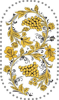 Folk Khokhloma painting from Russia. A floral pattern with berries in golden colours. #art #folk #painting #Russian