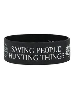 Supernatural Family Business Rubber Bracelet from Hot Topic. Rubber Bracelets, Silicone Bracelets, Bangle Bracelets, Bangles, Supernatural Merchandise, Supernatural Outfits, Supernatural Jewelry, Things I Need To Buy, Fun Things