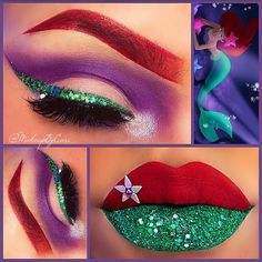 Best Ideas For Makeup Tutorials : Makeup Inspired by Ariel From The Little Mermaid - Makeup Tutorial Lipstick Disney Eye Makeup, Disney Inspired Makeup, Ariel Makeup, Disney Princess Makeup, Disney Character Makeup, Little Mermaid Makeup, The Little Mermaid, Mermaid Make Up, Mermaid Hair