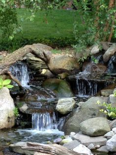 Waterfall created by Dreamscapes Watergardens in Lebanon, PA. Outdoor Water Features, Garden Waterfall, Pond Ideas, Rain Garden, Water Gardens, Fish Ponds, Sight & Sound, Beautiful Landscapes, Beautiful Places