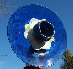 Cobalt Blue Glass Garden Flower by BeaUniqueDesigns on Etsy, $18.00