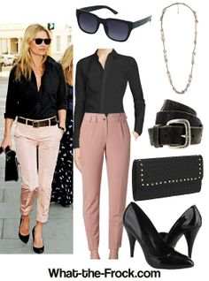 love this casual dressy look with capris, belt and heels