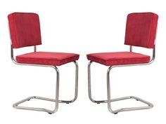 RIDGE KINK RIB Stühle Esszimmer Büro Freischwinger 2er Set Zuiver Rot
