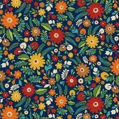 Keepsake Calico Fabric- Folkoric Garden Orange & Green at Joann.com