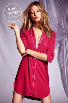 A notch collar and front pocket put a menswear spin on this soft modal sleepshirt. l Supersoft Sleepshirt