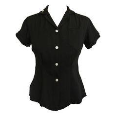 Rockabilly vintage 1950s black cotton ladies bowling shirt £30