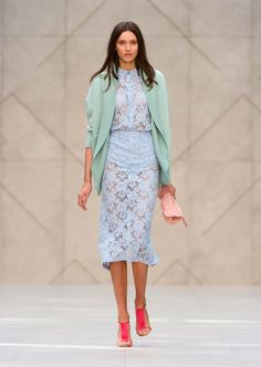 Light mint knitted jacket and The Petal in translucent rubber with flowers - The Burberry Prorsum S/S14 Collection