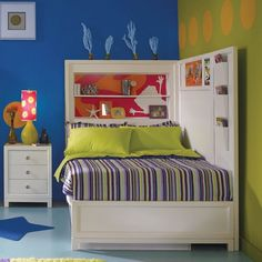 awesome room! great colors and check out all that storage!