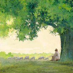 painting of jesus christ leaning against a tree watching a flock of sheep Pictures Of Jesus Christ, Jesus Christ Images, Bible Pictures, Jesus Art, Paintings Of Christ, Jesus Painting, Psalm 31, Christian Artwork, Christian Artist