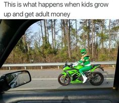 I love it! New life goal right there lol 1: get green suit 2: get a Kawasaki 3: cruise around town looking fly af