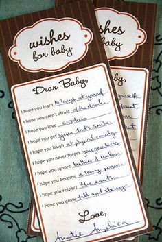 Baby shower idea... I wanna do this :D put in a scrap book.