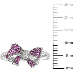 1/3 Carat T.G.W. Created Pink Sapphire and Diamond-Accent Sterling Silver Bow Ring