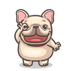 French Bulldog PIGU-Sticker VIII Cartoon Stickers, Funny Stickers, Funny Bears, Emoji Pictures, Cartoon Gifs, Dog Illustration, Cute Memes, Cute Icons, Cute Gif