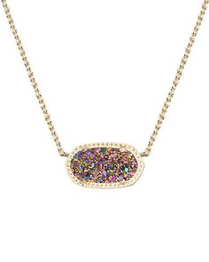 Elisa Pendant Necklace in Multi-Color Drusy - Capture an array of colors with the Elisa pendant necklace in multi-color drusy.