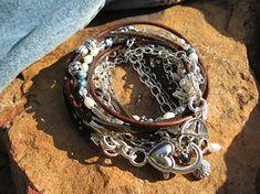 Boho Endless Leather Wrap Bracelet - Denim and Pearls